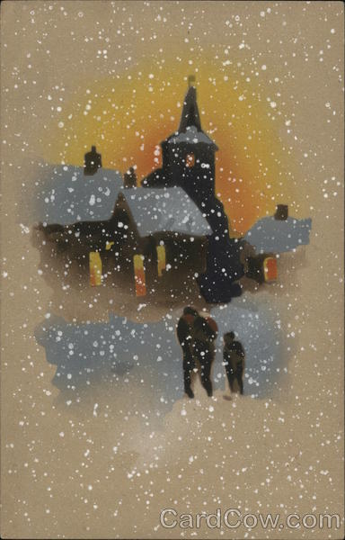 Adult and Child Walking Through Snow Near Church Art