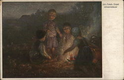 Four Children Around a Fire Outside at Night