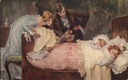 Man and Woman Regarding Two Children Sleeping in Bed