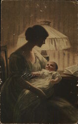 Woman Holding Baby Near Large Lamp