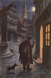 Man on dark street with dog, weapon and horn