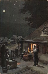 Man and Woman Interacting with Children Outdoors at Night