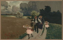 Two Adults and Two Children On Path Holding Onto Hats