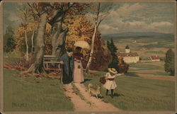 Two Women Walking with Girl and Dog Near Town