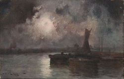 Harbor Scene with Calm Water and Dark, Murky Sky