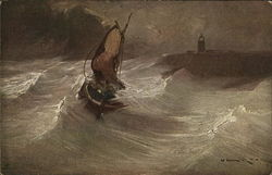 Sailboat in Tempestuous Water Near Tower