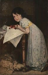 Young Dark-Haired Girl Hunched Over Cherries