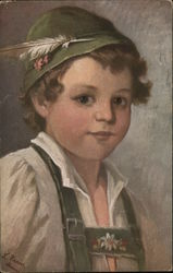 Curly-Haired Boy in Green Hat with Feather