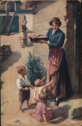Woman Holding Bowl with Three Children at Her Feet