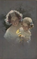 Woman Holding Blond Girl Near Yellow Flower, Butterfly