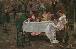Four Ladies Seated at Outdoor Table, Gentleman Caller Approaching