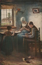 Woman with Two Children at Table Near Window