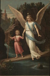Angel Holding Hand of Child Walking on Rock Above Water