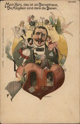 Caricature of Man with Tiny Women Flying Around Him