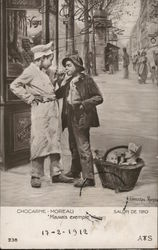 """Bad Example"" Two Boys on Street with Cigarettes, Baskets"