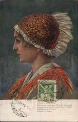 Czech Profile of Woman Wearing Orange Hat with White Frill