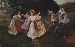Women and Girls Walking Outdoors, Some with Flowers