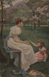 Little Girl Handing Flowers to Woman Seated on Bench