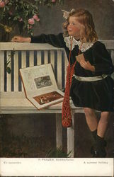 Little Blond Girl on White Bench Reading a Book