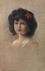 Girl with Short Dark Hair and Red Bow