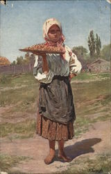 Donut Seller Country Girl Holding Tray of Donuts Paris