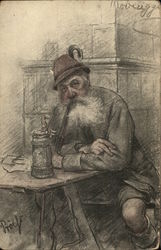 White-Bearded Man at Table with Pipe and Beer Stein Postcard