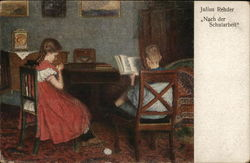 Girl Knitting with Yarn, Boy Reading a Book