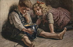 """Little Gourmets"" Boy and Girl With Large Blue Jar"