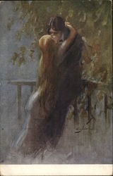 Man Kissing Woman with Long Blond Hair