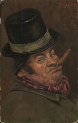 Man with Cigar in Mouth Wearing Top Hat