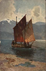 Boat with Angled Sails in Water Near Mountains Postcard