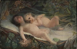 Nude Children Laying Down Surrounded by Green Leaves