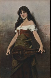 Young Woman with Long Dark Hair Holding Stringed Instrunent