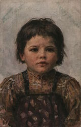Dark-Haired Child Wearing Brown Shirt