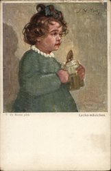 Little Girl Wearing Green Dress Holding Jar and Spoon
