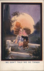 Boy and Girl Caricatures Kissing on Fence with Full Moon