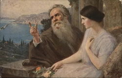 Woman Holding Flower Near Bearded Old Man