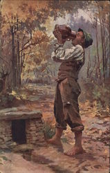 Barefoot Young Man in Forest Drinking from Jug