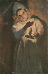 Blond Child in Night Dress and Hat Holding Candle