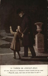 Older Man Walking with Young Girl Pointing Upward