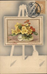 Easel Holding Painting of Yellow and Orange Flowers