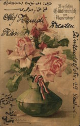Pink Roses in Green Vase with Red, White, Blue Ribbon Postcard