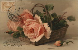 Pink Roses with Green Leaves in Basket