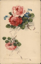 Red and Blue Flowers Postcard