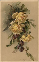 Yellow Roses with Grapes