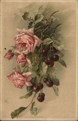 Pink Roses and Stems of Black Cherries