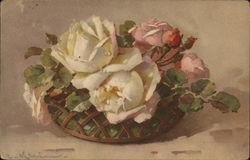 Basket of White and Pink Roses
