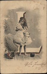 "Girl With Lamb, Letter ""L"""