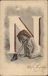 "Girl with Letter ""N"""