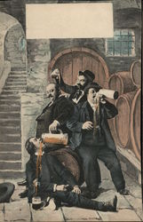 Men Near Barrels Drinking and Pouring Beer on Each Other